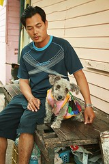 young man and his cute dog (the foreign photographer - ) Tags: dog man cute portraits canon thailand kiss sitting bangkok young khlong bangkhen thanon 400d