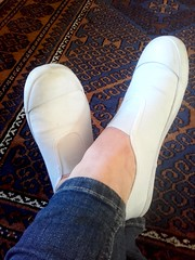 Relaxing in a pair of white plimsolls (eurimcoplimsoll) Tags: plimsolls plimsoles pumps sneakers white canvas gym gymnastic