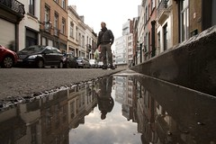 lifelines (maybemaq) Tags: street door houses windows brussels sky cloud house man reflection window water clouds way puddle mirror evening march vanishingpoint calle twilight alley europa europe strada doors camino belgium belgique geometry path weekend perspective belgi bruxelles double structure symmetry carrefour brussel caminho shoppingbag waterreflection lifeline ordinarylife etterbeek wetreflection maybemaq chausse superparket chaussesaintpierre