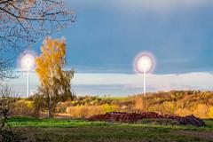 Wind Turbine (heiko_boehme) Tags: blue sunset sky sun tree green set landscape wind gras turbine