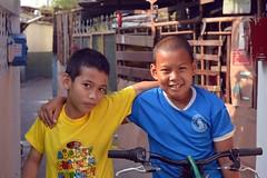 buddies on bicycles (the foreign photographer - ) Tags: two boys portraits thailand nikon buddies bangkok pals bicycles bang bua khlong bangkhen d3200 apr162016nikon