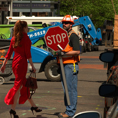 He Can't Stop Her (swong95765) Tags: red woman man sign lady female walking construction dress redhead stop heels zone
