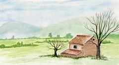la cabane dans les champs (ybipbip) Tags: sky tree watercolor painting landscape paint aquarelle champs peinture watercolour acuarela paysage arbre pintura cabane aquarell acquerello akvarell oldholland