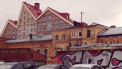[broken beats] ( -  ) Tags: windows red people birds graffiti triangle russia roofs perm 169 mixture astra triangular oldandnew pegeons