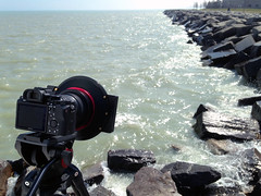 Shooting with the WonderPana XL (FotodioxPro) Tags: water rocks waves photoshoot lakemichigan onlocation kenosha cameraporn inuse lensadapter nd1000 fotodiox autoadapter longexposureshooting camerainaction kenoshapier tenstopndfilter fotodioxpro iphone5c canon1124 sonya7rii eftoemountadapter filterforcanon1124 wonderpanaxlfreearc