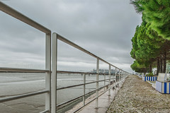 The Long Walk III (PuffinArt) Tags: bridge trees winter portugal wet water clouds river nikon rocks lisboa lisbon sidewalk cablecar handrail puffinart nikkor guardrail hdr vr parquedasnaes darksky d300 revetment 18200mm vandamalvig stonefacing