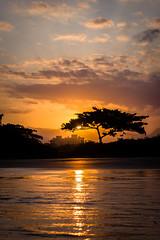 Ludbrio (Fernanda Furtado Hadad) Tags: ocean sunset brazil sky sun praia clouds reflex silhouete plage itaguar