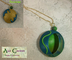 Peacock Hollow Pendant1a (Polymer Clay Delights) Tags: blue green gold diy necklace handmade oneofakind ooak peacock jewelry jewellery polymerclay handcrafted pendant polyclay