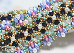 Gentiana Bracelet (BeeJang - Piratchada) Tags: pink blue white green gold golden purple czech crystal handmade turquoise indigo seed jewelry bracelet bead pearl swarovski amethyst miyuki beading beaded beadwork beadweaving superduo