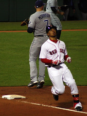 Down they go in order... (ConfessionalPoet) Tags: out baseball redsox rf 1b firstbase baserunner firstbaseman rightfielder loganmorrison tampabayrays mookiebetts