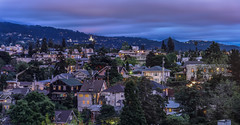 sunday night supper (pbo31) Tags: california blue windows sky urban panorama color temple oakland spring nikon view rooftops purple over large panoramic neighborhood bayarea grandlake april eastbay bluehour supper piedmont stitched alamedacounty 2016 boury pbo31 d810