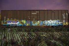 MET . AVEN . RAPID (TRUE 2 DEATH) Tags: longexposure railroad train graffiti tag graf trains railcar boxcar met ta railways rapid mayhem railfan freight cbs aven freighttrain rollingstock benching freighttraingraffiti