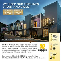 Unveiling our latest completed project - Lavender,  located at Eroor, Kochi.   Come experience living!   Date&Venue: 30-4-2016, 6:00 PM  Chief Guest:  Shri. Suhas Shivanna I A S,  Sub Collector, Ernakulam  #Kerala #Kochi #India #Inauguration #Architecture (nucleusproperties) Tags: life city india building home nature beautiful beauty architecture design living construction realestate view apartment interior gorgeous lifestyle style atmosphere kerala villa environment elegant exquisite comfort luxury kochi inauguration elegance