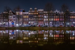 Dutch reflection (karinavera) Tags: city longexposure travel windows reflection netherlands colors amsterdam night landscape lights reflex cityscape canals nikond5300
