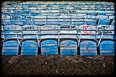 Wordbone, Plate 2 (Thomas Hawk) Tags: usa abandoned graffiti unitedstates chairs florida miami unitedstatesofamerica seats seating marinestadium fav10 virginiakey fav25 miamimarinestadium