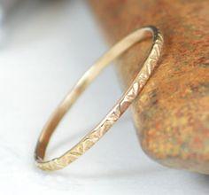 14k Gold Bohemian Ri (alaridesign) Tags: wedding by gold rustic band ring rings 14k thin boho bohemian dainty a19 alaridesign