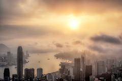 Moody sunrise Hong Kong (urbanexpl0rer) Tags: china urban water skyline sunrise buildings hongkong skyscrapers thepeak cinematic
