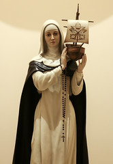 St Catherine supporting St Peter's Barque (Lawrence OP) Tags: sculpture church statue sisters europe ship dominican nashville mystic barque tertiary papal catherineofsiena patroness