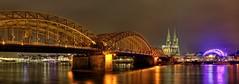 Cologne (T K Hummel) Tags: city bridge panorama night germany cologne kln stadt rein brcke fluss landschaft langzeitbelichtung nachtaufnahmen