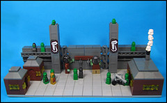 Orc Fortress - Opening the Gates (Karf Oohlu) Tags: gate lego fort troll minifig fortress vignette orc moc ballista microscale microfig