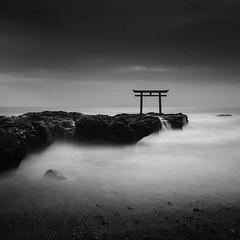 * Isosaki Jinja * (^soulfly) Tags: longexposure blackandwhite japan pacificocean daytime oarai toriigate bwfilter ef1740mm nd110 ibarakiprefecture canon5dmark2