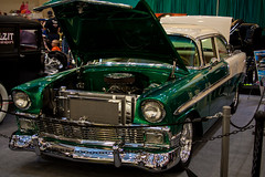 World of Wheels Custom Car Show - 1/9/16 (steviep187) Tags: blue light red people orange brown white black green ford chevrolet car bike yellow vw truck canon dark fun eos rebel gold buick lowlight chopper shiny shine tn jeep bright tennessee cream cadillac camaro indoors chevy motorcycle vehicle dodge 1956 mustang dslr corvette carshow xsi chattanoogaconventioncenter worldofwheelscustomcarshow