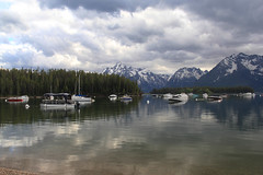 Leeks Bay Marina (RPahre) Tags: reflection clouds marina reflections boats bay wyoming grandtetons tetons grandtetonnationalpark jacksonlake leeksbay