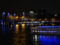 Looking down at the Thames from Level 5 of the Royal Festival Hall (stillunusual) Tags: uk travel england urban reflection london thames night river dark evening boat cityscape streetphotography riverboat riverthames royalfestivalhall urbanlandscape urbanscenery 2016 travelphotography reflectedlight ldn travelphoto travelphotograph londonstreetphotography