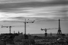 Eiffel'crane (De.Ha) Tags: city winter sunset blackandwhite bw white black paris tower monochrome canon landscape noir tour crane hiver eiffeltower eiffel nb toureiffel paysage extrieur blanc ville grue beaubourg eos500d