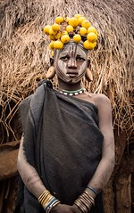 Mursi Girl (Rod Waddington) Tags: africa portrait girl face fruit female costume village outdoor african painted traditional culture valle tribal valley afrika omovalley ethiopia tribe ethnic mago mursi cultural ethnicity afrique ethiopian omo etiopia ethiopie etiopian