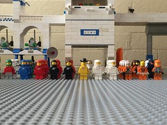 At attention, awaiting the arrival... (redlegorev) Tags: classic lego space minifig base