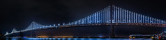 seconds after the re-illumination of the bay bridge lights (pbo31) Tags: sanfrancisco california bridge blue winter motion black color reflection sport night dark lights bay football nikon nfl january motionblur baybridge embarcadero fans superbowl 80 openingnight 2016 lightstream boury pbo31 d810 sb50 superbowlcity