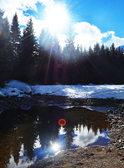 Reflection. (Matty Stratton) Tags: trees mountain lake snow canada mountains reflection river lens mirror forrest snowy n canadian alberta riverbed lensflare flare land snowing colourful effect castlemountain ladscape