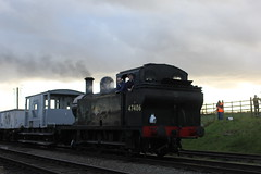 Jinty On The Wind Cutters (MylesBeevor) Tags: uk winter train br tank wind great central engine railway loco steam locomotive gala woodhouse wagons quorn lms cutters jinty 47406