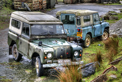 Merrivale Land Rovers (Raphooey) Tags: park old uk england southwest west wet car rain weather canon vintage eos 4x4 farm south bad rover national rainy gb land moor tavistock defenders hdr moorland defender smallholding photomatix merrivale 70d devondartmoor