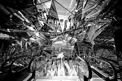 Tokyu Plaza Omatesando Harajuku @Shibuya, Tokyo (Masahiko Kuroki (a.k.a miyabean)) Tags: bw mirror noiretblanc escalator       fujixe1 xf1024mm