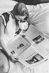 The Morning Paper. (aaronvonhagen) Tags: blackandwhite bw coffee canon morninglight newspaper model photoshoot naturallight portraiture vancouversun morningpaper vancouvermodel vancouverphotographer 5dmarkiii