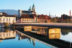 Solothurn (welenna) Tags: summer architecture switzerland sommer kirche stadt morgen sity solothurn aare wasserspiegel