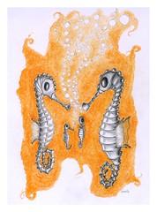 Seahorse family (Karwik) Tags: pencil pencils seahorse drawing crayons seahorses konik ołówek rysunek morski olowek