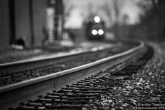 Rail Bokeh (Brandon Townley) Tags: railroad blackandwhite dof bokeh trains headlights depthoffield railroadtracks csx marionohio