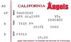California Angels vs. Chicago White Sox (Cragin Spring) Tags: california ca usa chicago unitedstates baseball unitedstatesofamerica ticket angels 1989 anaheim stub whitesox ballpark mlb chicagowhitesox anaheimstadium majorleaguebaseball californiaangels