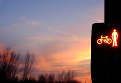 Illuminator - 55 (L D Middleton) Tags: trees light sunset sky orange sunlight man bike clouds danger fuji traffic stop fujifilm ashton ashtonunderlyne illuminator tclx100 x100t ldmiddleton