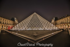 On The Grounds of the Louvre (ChuckDiesal) Tags: paris france photography europe pyramids thelouvre 2016 nightpictures seetheworld artislife chuckdiesal