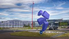 Blocks Falling Up (ZeroOne) Tags: sky sculpture abstract art nature landscape iceland traffic roundabout reykjavik publicart hdr epl3