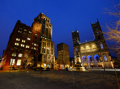 Place d'Armes in Montreal at Night (` Toshio ') Tags: city canada building statue architecture night square lights montreal religion canadian notredamebasilica placedarmes toshio xe2 fujixe2 notredamebasilicademontreal