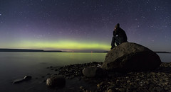 Ponder (andrewpmorse) Tags: longexposure light lake ontario canada rock night canon stars think georgianbay aurora lakehuron northernlights 6d 1635f4l