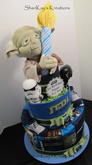 Star Wars 1st Birthday Diaper Cake (Sharikay's Kreations (Formerly Shari's Diaper Cake) Tags: baby star blanket wars centerpiece babyshower topsyturvy babygift diapercake