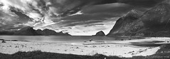 a Northern Shangri-La of sorts (lunaryuna) Tags: sea sky bw panorama seascape nature monochrome beauty norway season landscape bay vik lunaryuna lofoten cloudscape lofotenislands sheltered northernnorway blackwhie norwegiansea beachmountains lofotenwall lofotenarchipelago autumnabovethearcticcircle