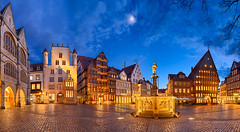Market square of Hildesheim, Germany (Michael Abid) Tags: blue panorama history night germany downtown famous panoramic historic altstadt oldcity marktplatz halftimbered marketsquare hildesheim fachwerkhaus niedersachsen lowersaxony