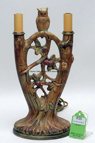 Weller Art Pottery Woodcraft Owl Lamp - $198.00 (Sold June 5, 2015)